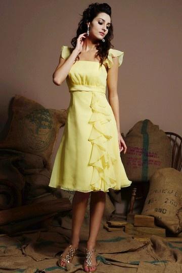 A-Linie-Gelb-Knielang-Sommerkleid