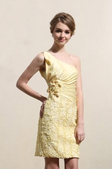 Kurz-Gelb-Sommerkleid-Festlichekleid