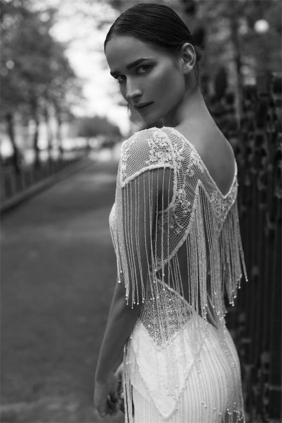 Sexy-Ivory-Fransen-Brautkleider