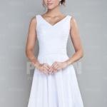 A-Linie-Weiß-Chiffon-Kurz-Brautjungferkleid