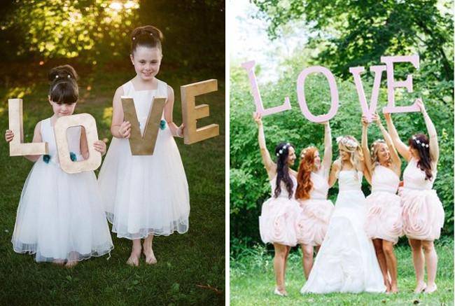Hochzeit-Schuss-Buchstaben