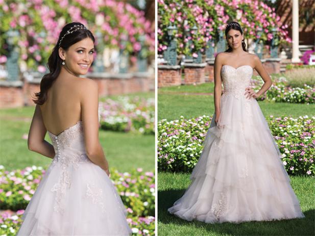Rosa-Tüll-Trägerlos-Prinzessin-Brautkleid