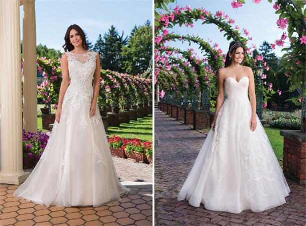 Tüll-Blumen-Trägerlos-Brautkleid