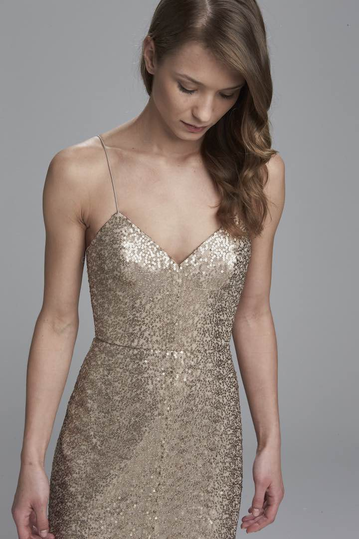Gold-Sequines-Lang-Brautjungfernkleid