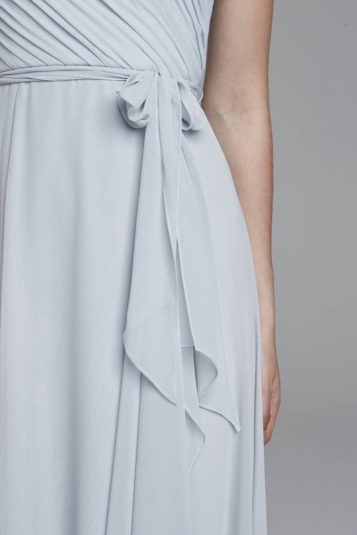 Brautjungferkleid-Chiffon-Blau