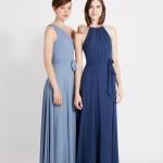 Blau-Tone-Lang-Chiffon-Brautjungfernkleid
