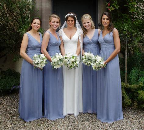Brautkleid-Schlicht-Brautjungfernkleid-Blau