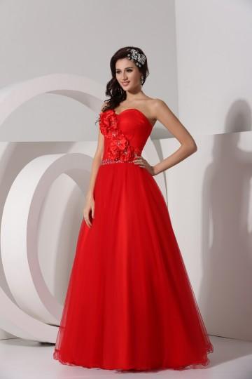 Herz-Ausschnitt-Bodenlang-Rot-A-Linie-Hochzeitskleid-Persunkleid
