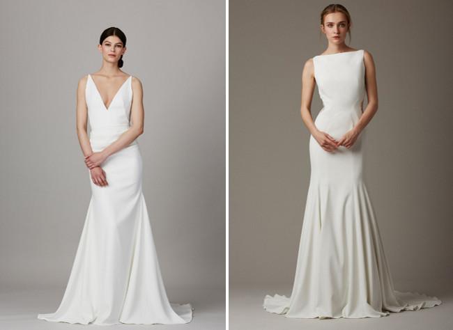 Schlicht-V-Ausschnitt-Brautkleid