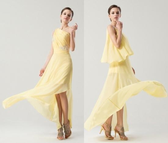 Sommerhochzeit-Elegant-Gelb-Brautjungfernkleid-Persunkleid