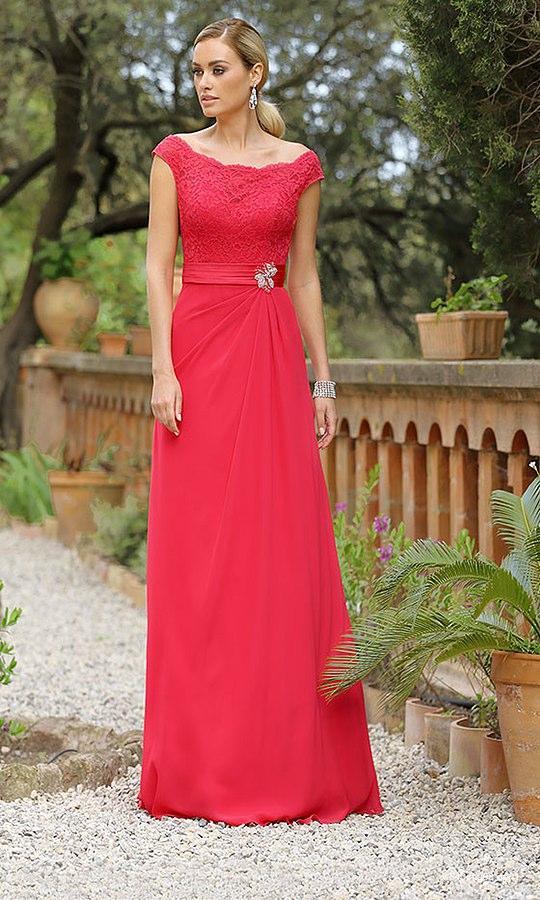 Spitze-Rot-Brautkleider