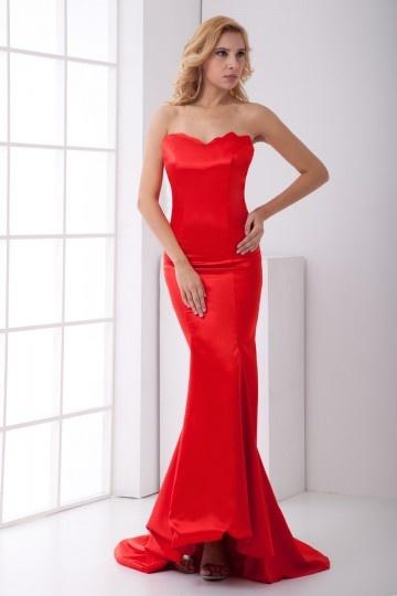Sweetheart-Lang-Meerjungfrau-Hochzeitskleid-Rot-Persunkleid