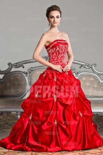 Trägerlos-Rot-Prinzessin-Stil-Brautkleid-Persunkleid