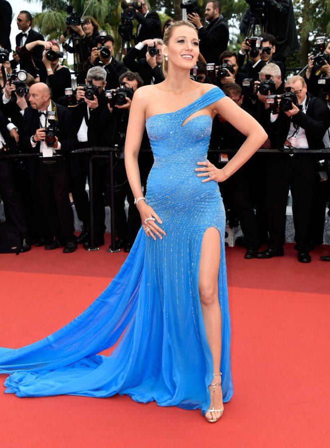 Blake-Lively-Ein-Schulter-Sexy-Blau-Abendkleid-Schwangere