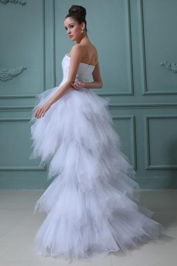 Tüll-High-Low-Weiß-Trägerlos-Brautkleid-Persunkleid