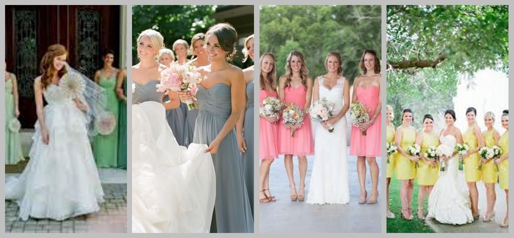 grün blau rosa gelb schöne Brautjungfernkleider