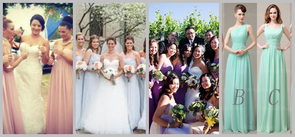 blau grün gelb lila schöne Brautjungfernkleider