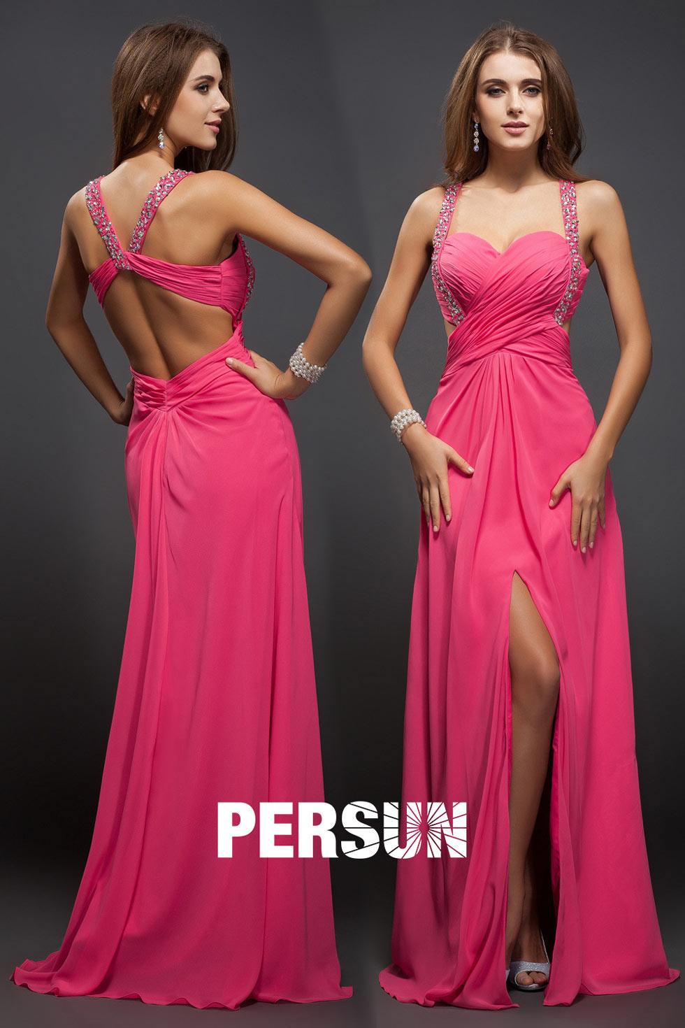 Sexy geteiltes rückenfreies rosa Ballkleid mit Träger