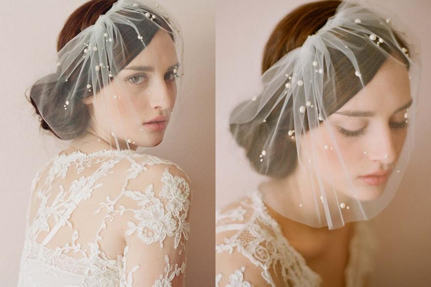 kurzes boho Kopfschmuck mit Perlen für Braut