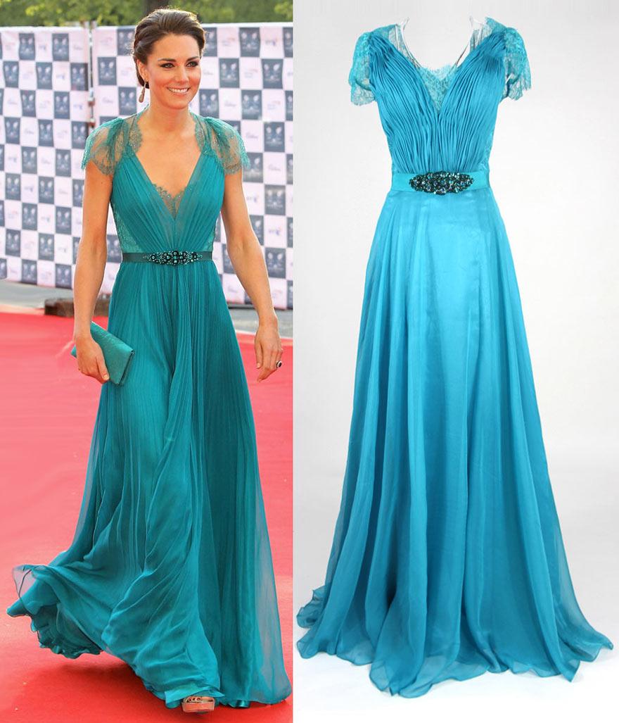 kate middleton V-Ausschnitt lange blau Chiffon Abendskleid