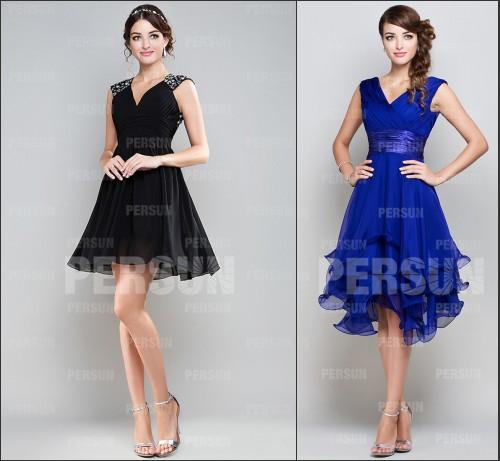 Schwarz blau A-Linie V-Ausschnitt empire Doppel-Schulter mit Chiffon Perle kurz sexy Cocktailkleider
