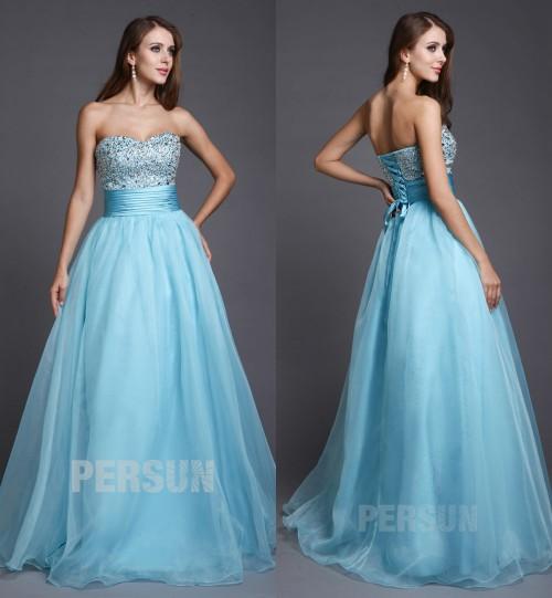 blau Herz-Ausschnitt Perle Rücken mit Schnürung Princess Abendkleid aus Organza
