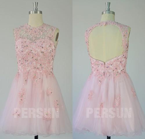 A-Linie U-Ausschnitt kurz PerlenApplikation Rückenfrei Abendkleid aus Tüll