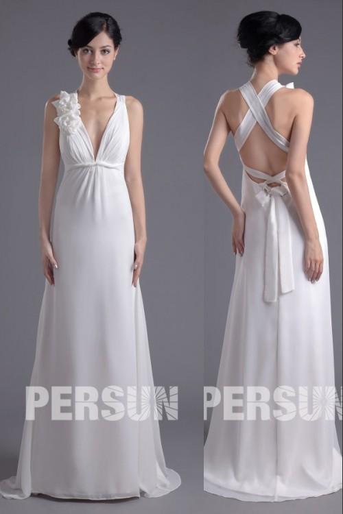 Tief V-Ausschnitt A-Linie Pinsel-Schleppe Blumen Rückenfrei weißes Abendkleid